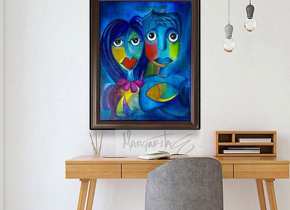 Original Painting Love in blue.