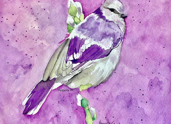 House Sparrow Bird Watercolor painting