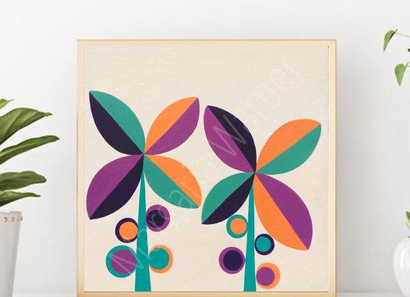 "Flowers regiletes fine art print 8x8"""