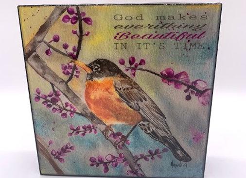 """God Bird artwork 6x6x2"""""""