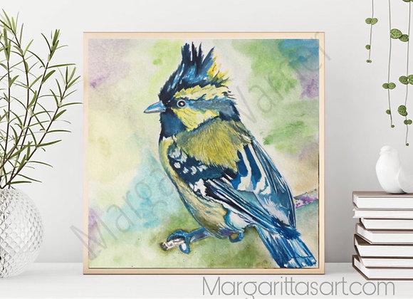 Blue Bird Watercolor Painting