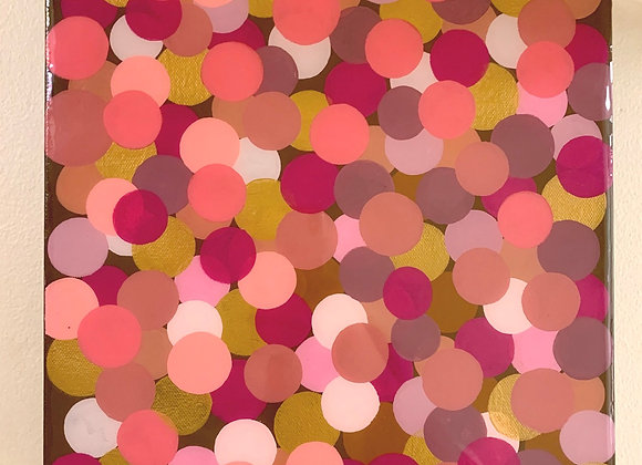 """Polka Dots in gold and pinks 12x12"""""""