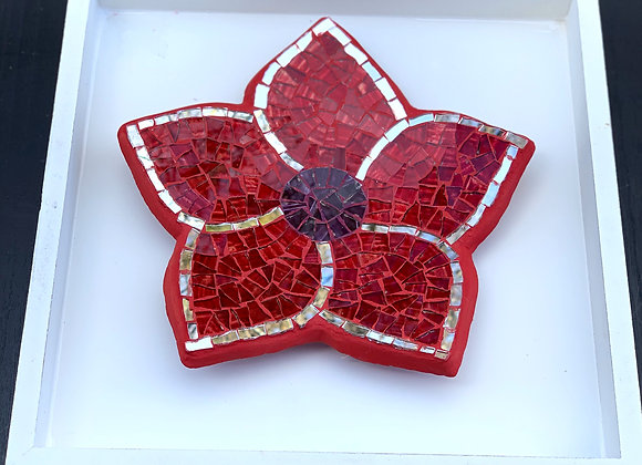 Mosaic Wall Art Red Flower