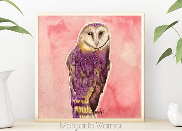Farm owl watercolor art 8x8""