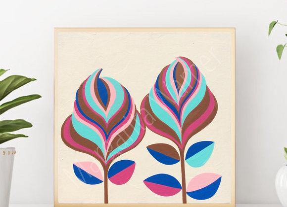 "Humble Flowers acrylic art 6x6"""