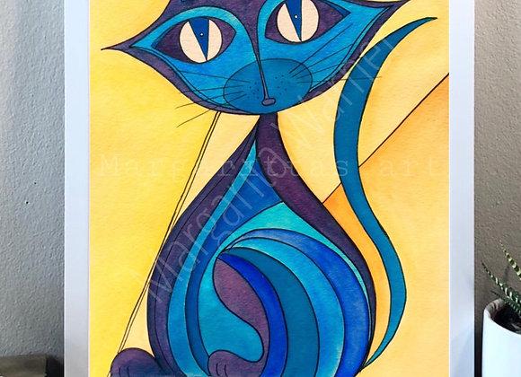 """Cat in blues watercolor fine art print 8x10"""""""
