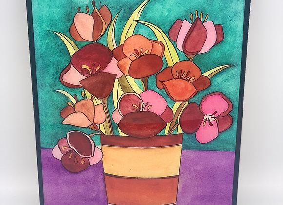 "Flower Arrangement watercolor art 8x10"""