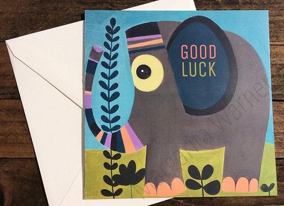 "Good Luck / Elephant / Gretting Card / 6x6"""