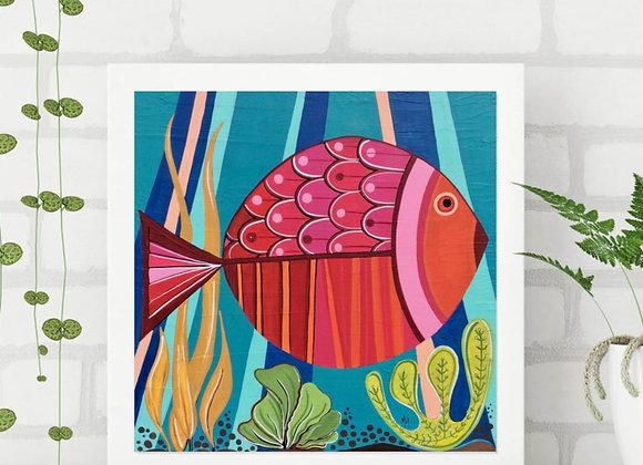 "Fish Art Acrylic fine art print 8X8"""