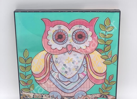 "Owl in teal art 8x8"""