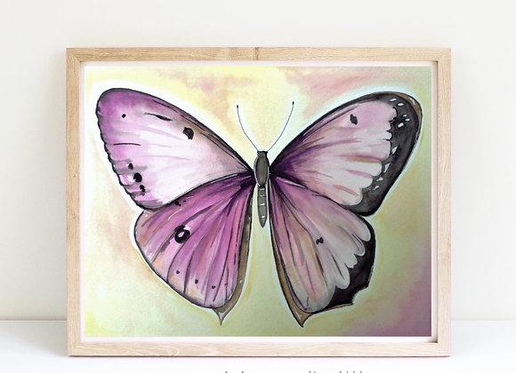 "Butterfly in pinks watercolor 8x10"""