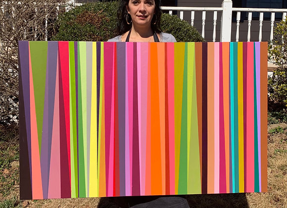 Stripes Original Painting/Wall Canvas Art /30x48x1.5