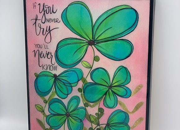 """Blue and green flower watercolor art 8x10"""""""