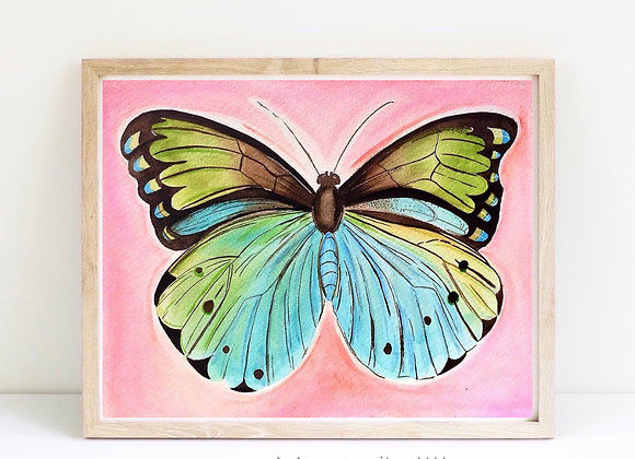"butterfly in summer watercolor 8x10"""