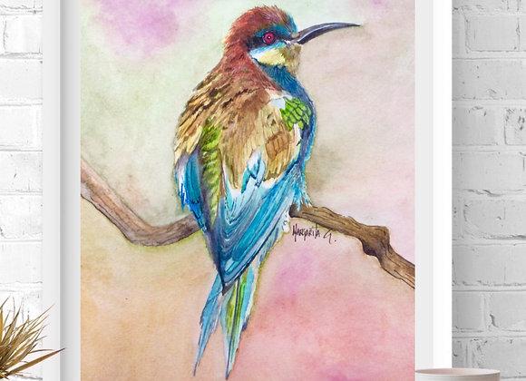 """Bird  Watercolor Art 8x10"""""""