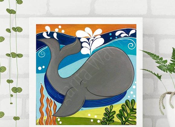 Whale Painting/Art Print/Ilustration.