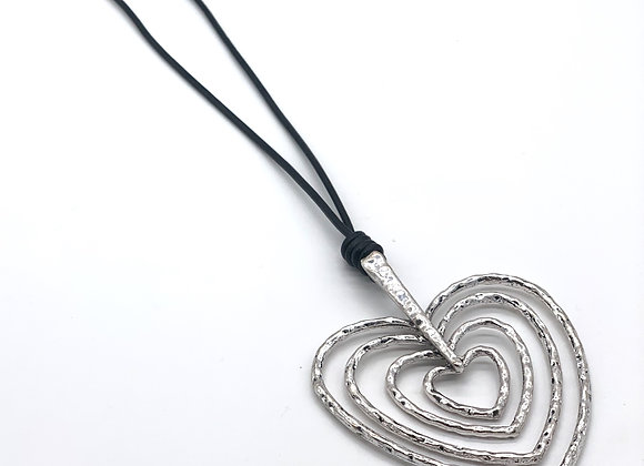 4 Heart Hanging  Necklace