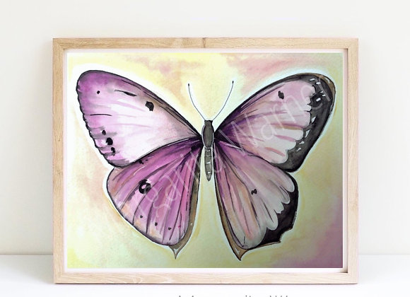 Butterfly in pinks watercolor 8x10""
