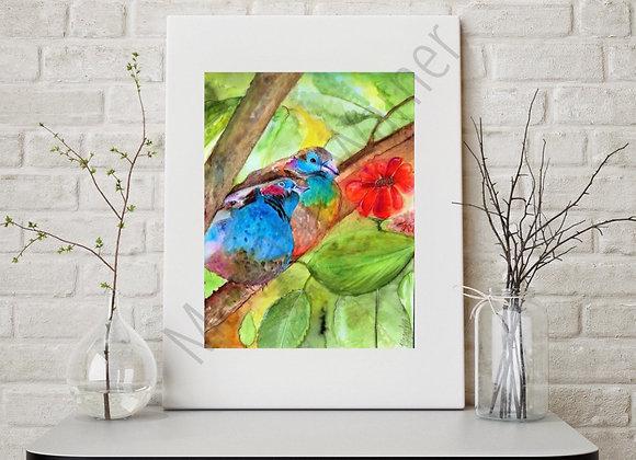 """birds love watercolor 8x8 """""""
