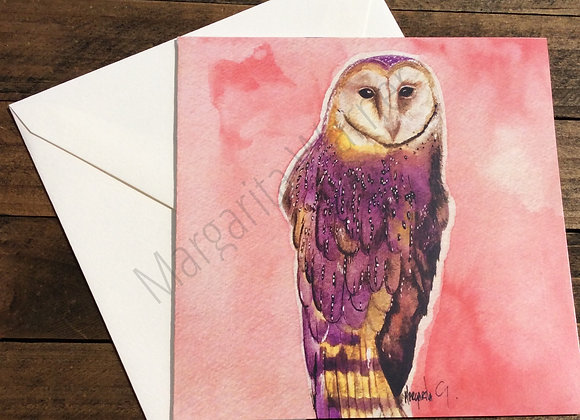 "Farm Owl Watercolor / Gretting Card / 6x6"""