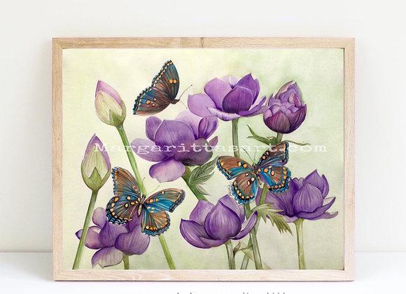 "butterflies lotus watercolor 8x10"""