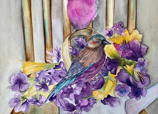 Birds in the flowers Watercolor art