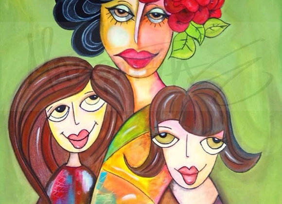 "Mother and Daughters / Original Painting / 18""x 24"""
