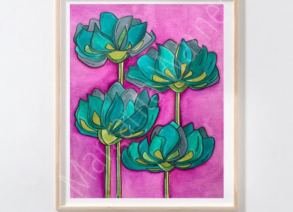 """Beautiful Garden watercolor 8x10"""""""