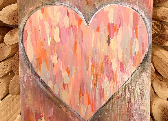 "Lovely heart original painting 6x6"""