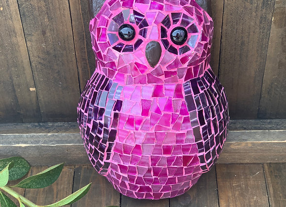 Hand-crafted Pink mosaic owl
