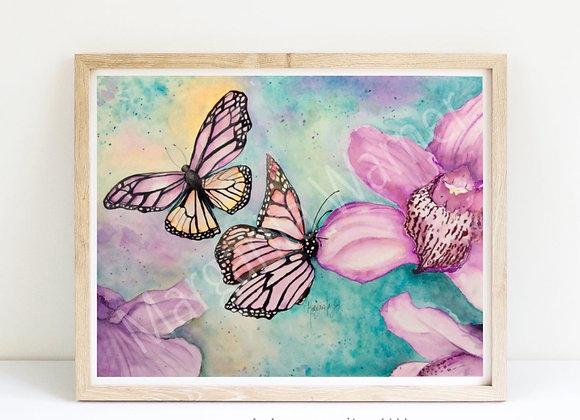 """Butterflies and Orchids fine art print 8x10"""""""