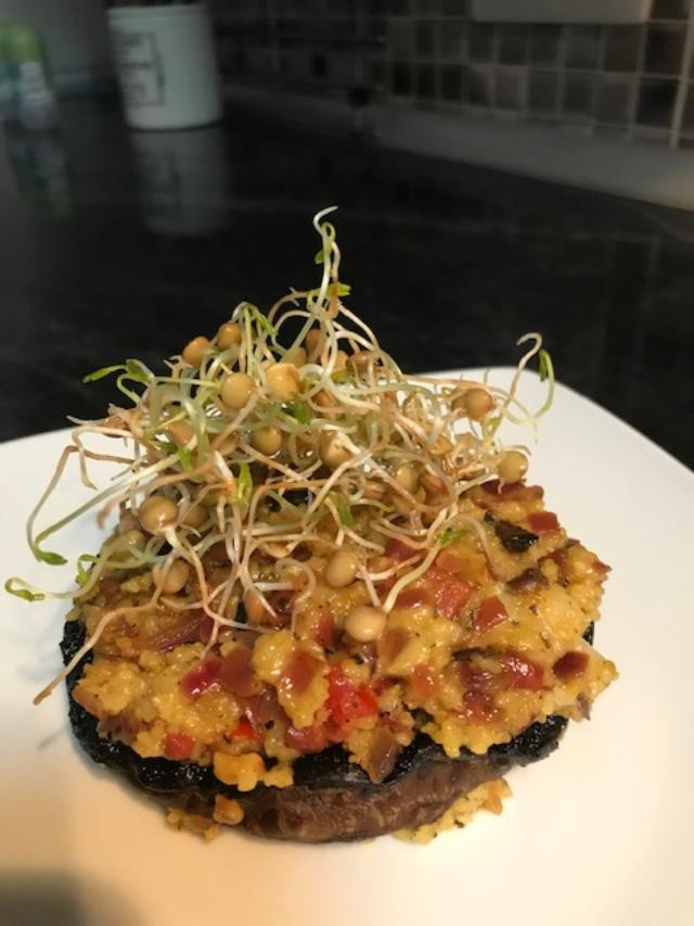 Stuffed portabella mushrooms with Lanzarote sprouting lentils