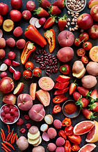 Fresh food raw produce in red colors, cu