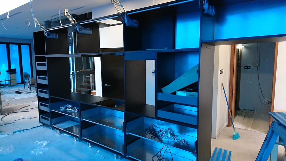 Stainless Steel cabinet installation in progress...