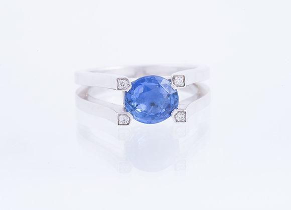 Bague berceau saphir bleu et 4 diamants