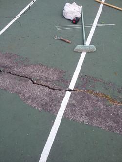 Digging out cracks w/ various tools