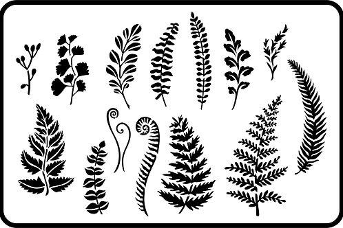 "Ferns and Greenery JRV Stencil 11.5"" x 17.5"""
