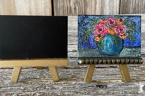 Original Mini Boho Blue Flower Vase Painting, DIY Paint