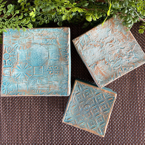 Embossed Clay Paper Mache Boxes, Set of 3