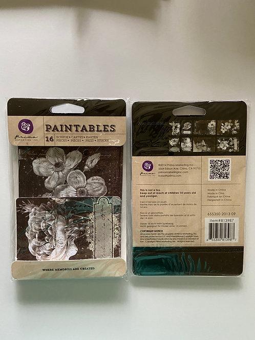 Vintage Paintables 1, Black, 16 Pieces, Mixed Media