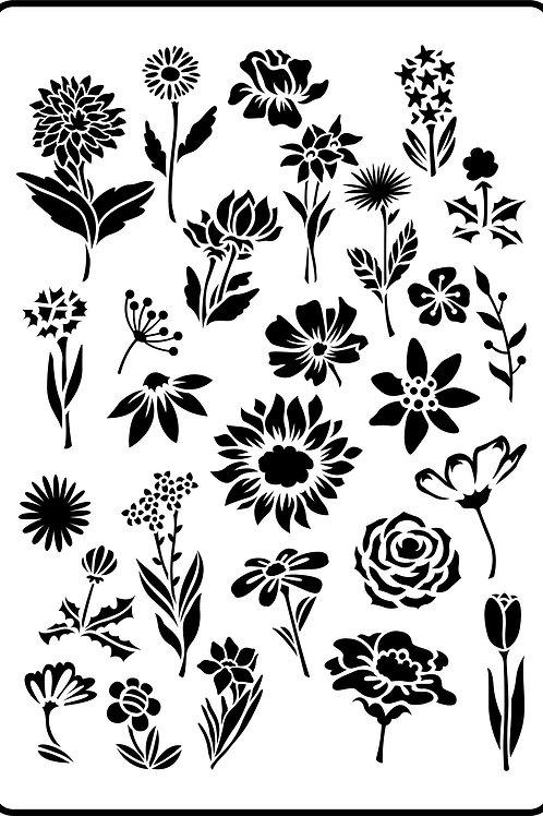 """Flower Garden JRV Stencil 11.5"""" x 16.6"""""""