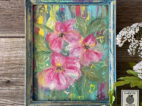 Original Boho Floral Painting, DIY Paint