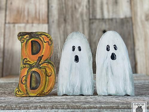 Boo Pumpkin & Ghosts, Hand Painted Halloween Decor
