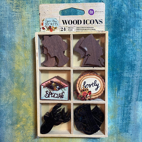 Cigar Box Wood Icons 24 pieces