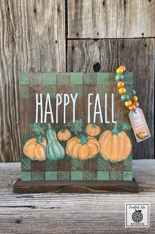 Happy Fall Sign, Hand-painted, Wood,  Made in USA