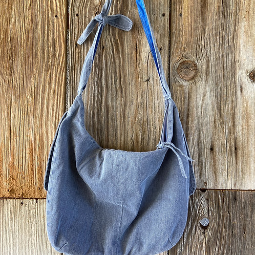 Blue Denim Boho Bag, Fully Lined