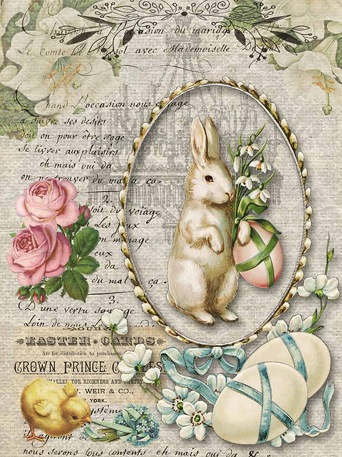 Nancy's Spring Bunny, Decoupage Queen Rice Paper