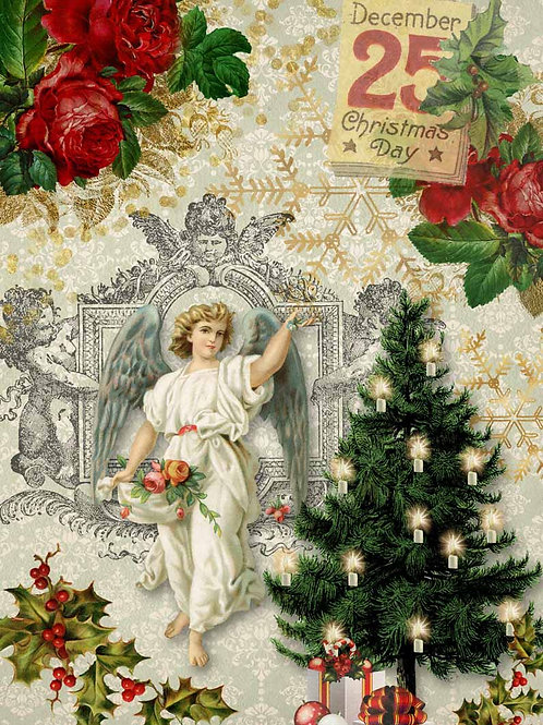 Christmas Angel With Tree, Decoupage Queen Rice Paper