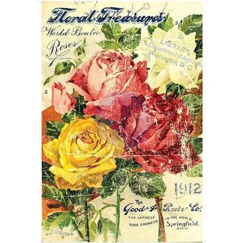 "Floral Treasures 11"" x 14"" Decor Transfer"