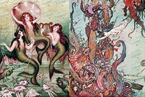 "Mermaids, JRV Decoupage Paper, 30"" x 20"""